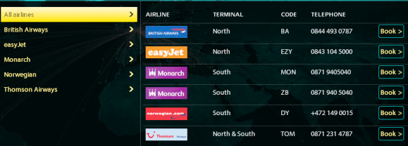 airlines fromgatwick