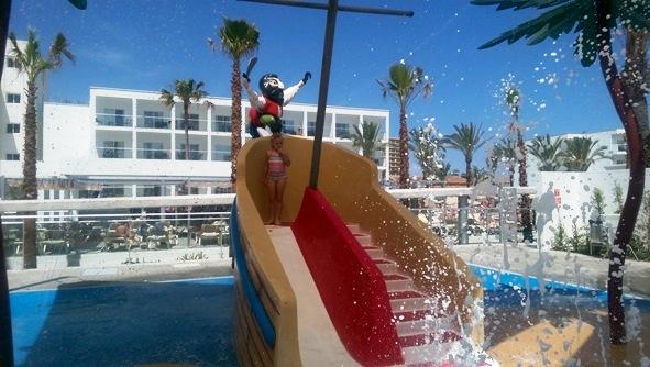 Slipping and sliding at the splash park!